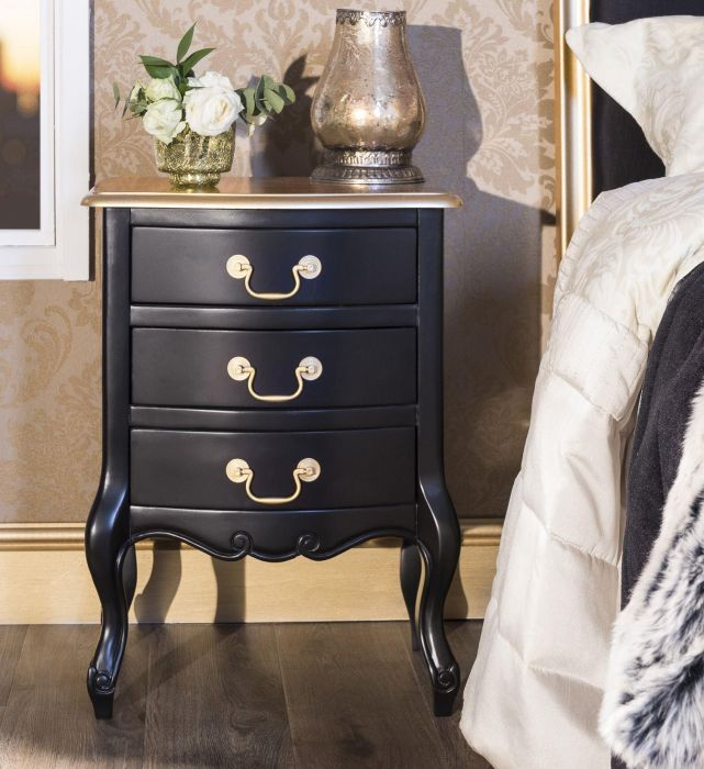juliette black and gold bedside table with 3 drawers