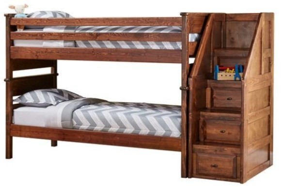Catalina Chestnut Twin Bunk Bed with Staircase From The RoomPlace