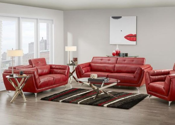 Mars Red 3 Pc. Living Room From the RoomPlace