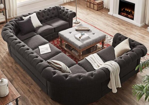 Barrington Charcoal Linen 9-Seat U Sectional From The RoomPlace