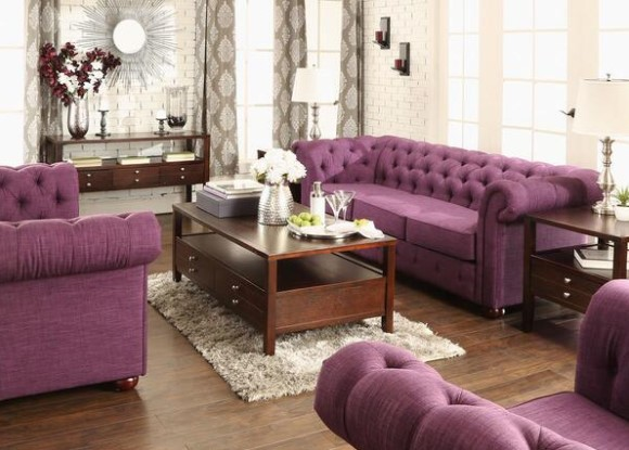 Featured Image: Barrington Purple Linen 3 Pc. Living Room From The RoomPlace
