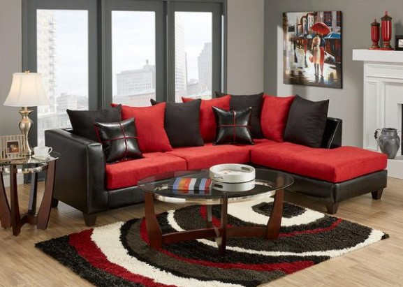 Image: Lanzo 2 Piece Red Sectional From The RoomPlace