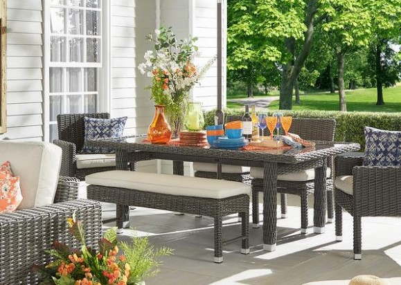 Image: Langstone Charcoal 6 Pc. Outdoor Dinette from The RoomPlace
