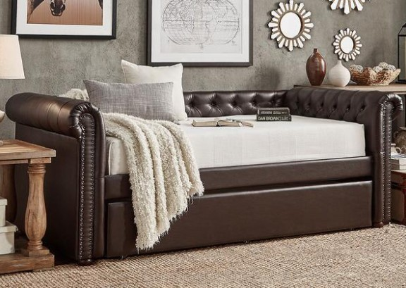 Barrington Faux Leather Daybed w/Trundle from The RoomPlace