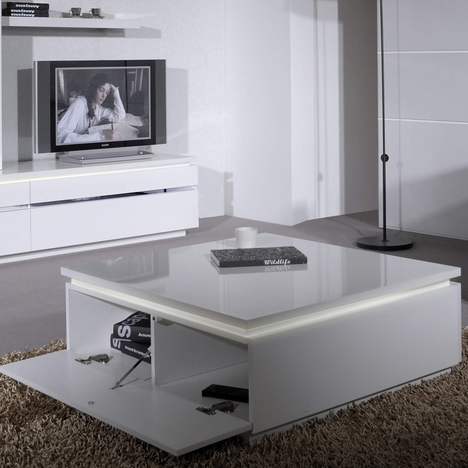 grade a1 skylight electra high gloss square coffee table in white