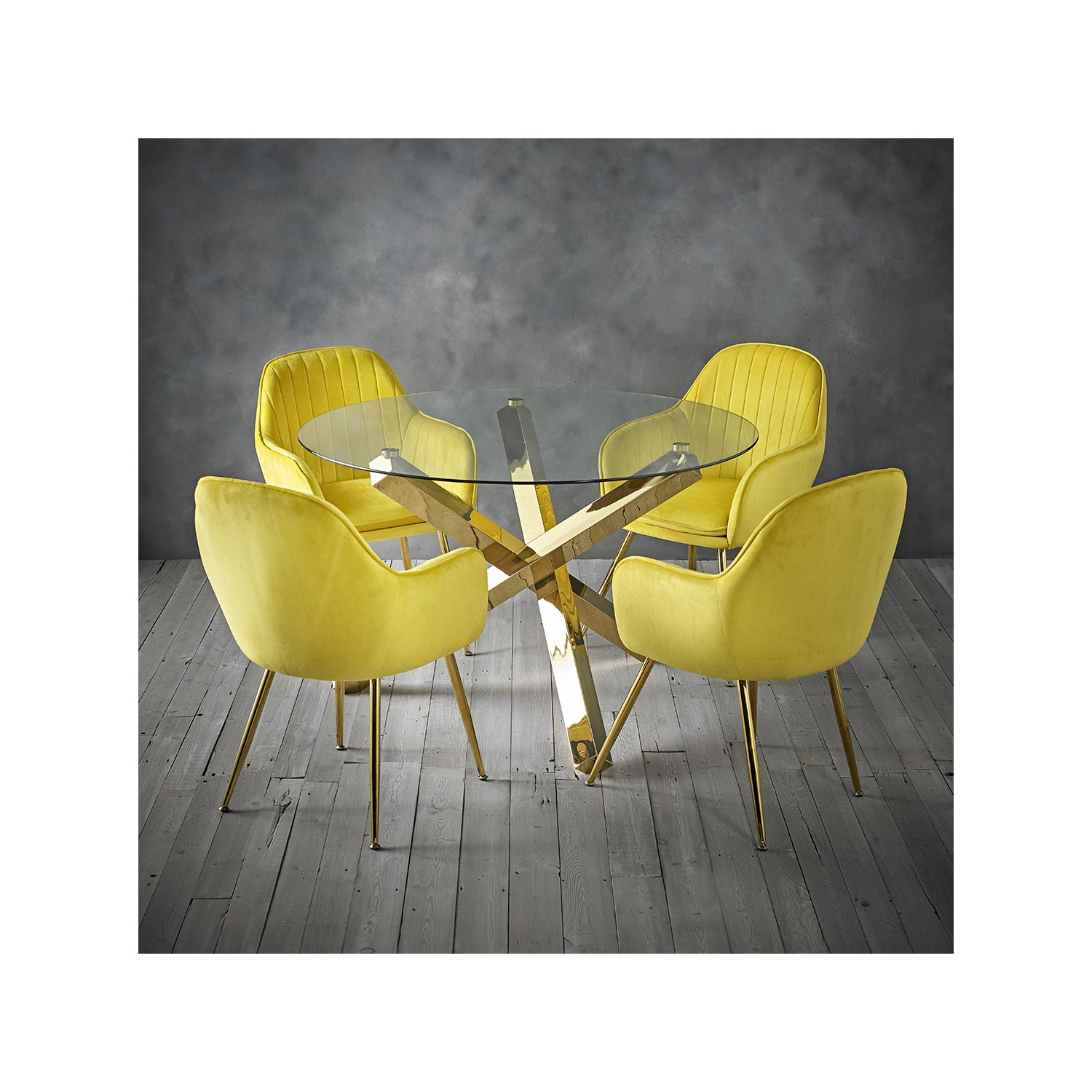 Capri Glass Top Dining Table 4 Yellow Velvet Dining Chairs With Gold Legs Furniture123