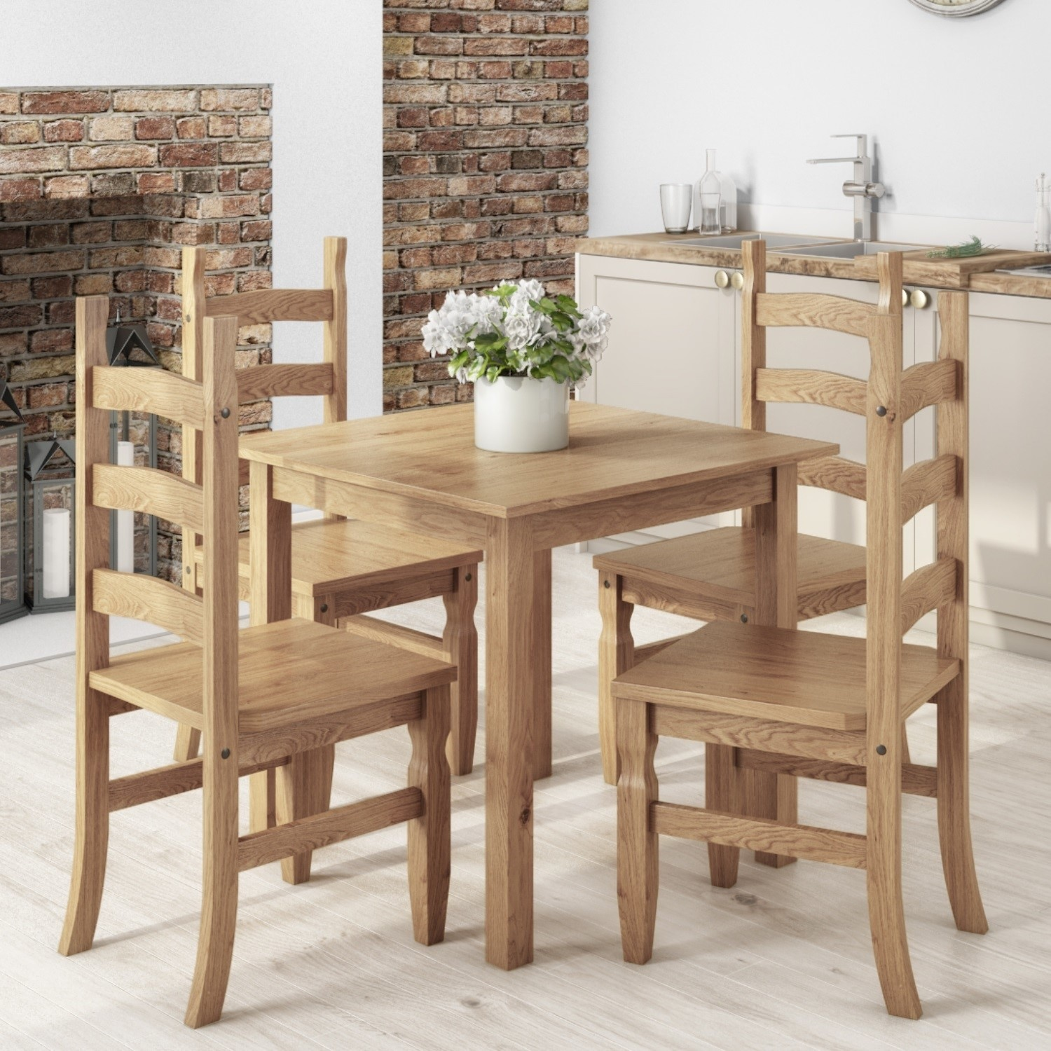small square dining table with 4 dining chairs in solid pine corona