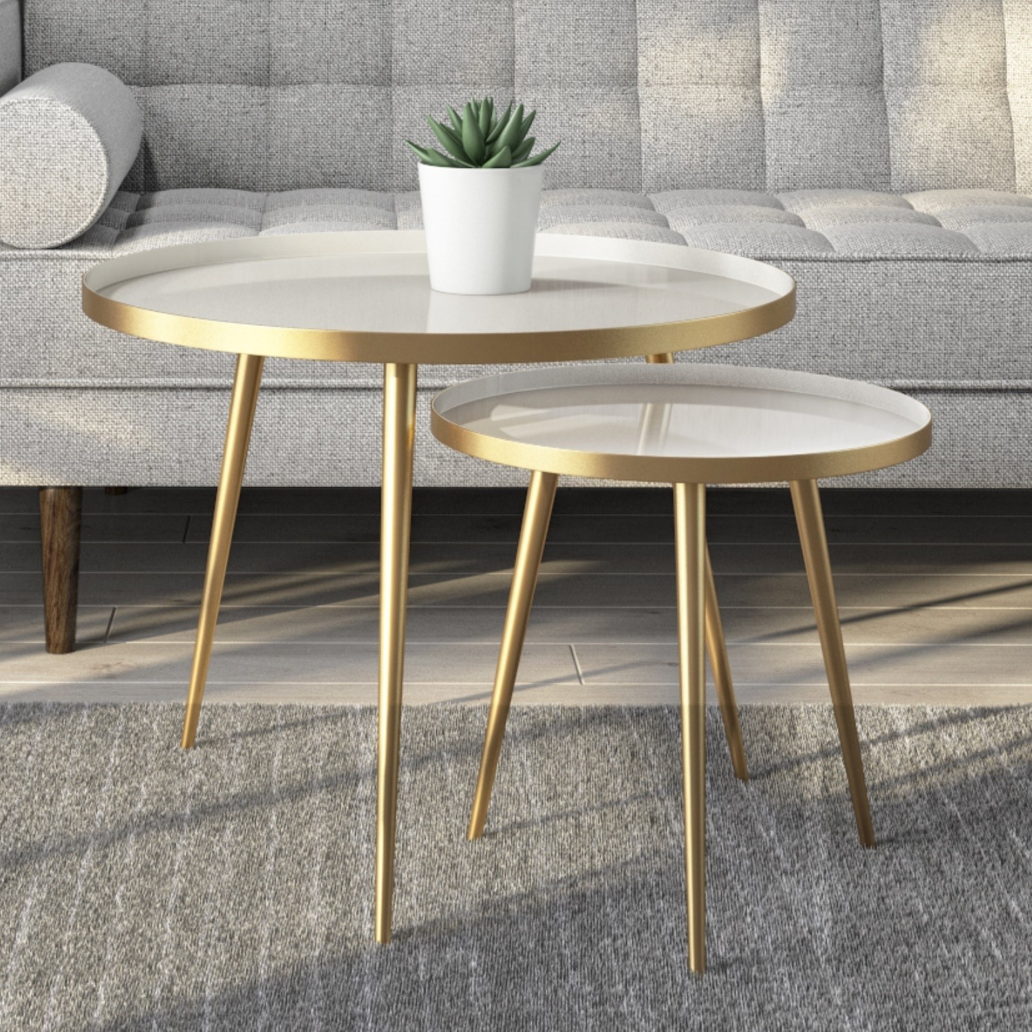 round side tables 2 in gold taupe kaisa