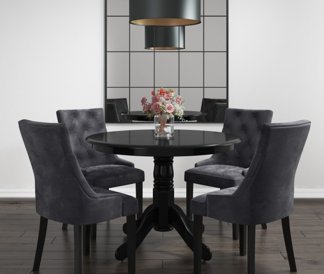 Rhode Island Round Dining Table With 4 Grey Velvet Chairs Bun Rhd010_bk 70495