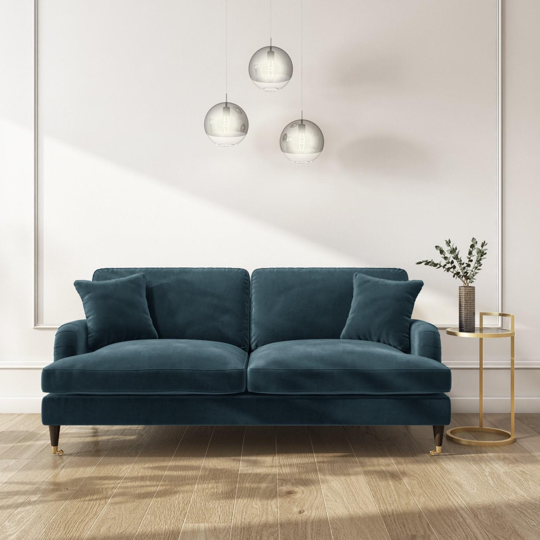 Sofa Set In Petrol Blue Velvet 3 2 Seater Payton Furniture123