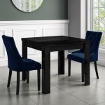 Vivienne Black High Gloss Dining Table Flip Top With 2 Navy Blue Velvet Dining Chairs Furniture123