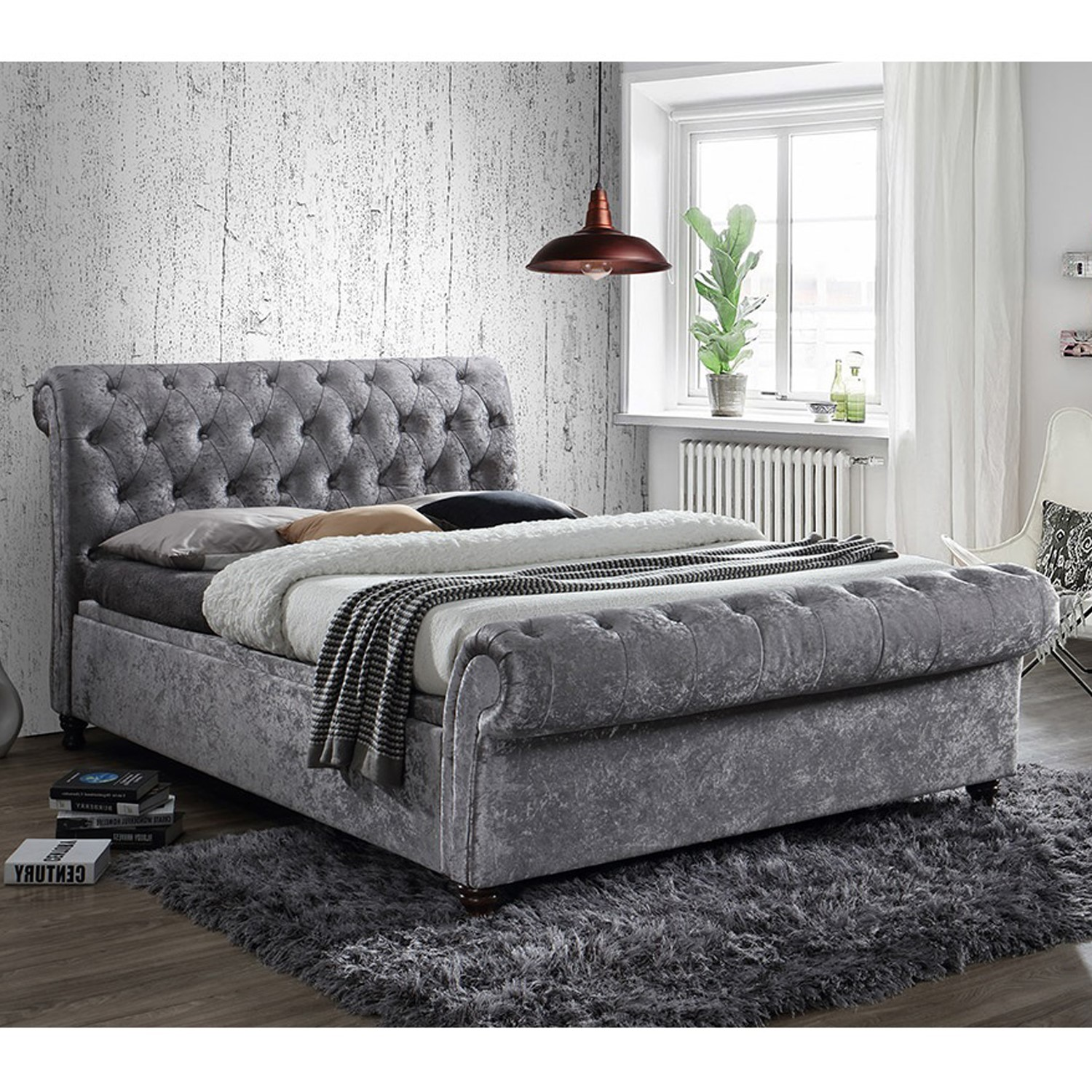 Birlea Castello Side Ottoman Double Bed Upholstered In