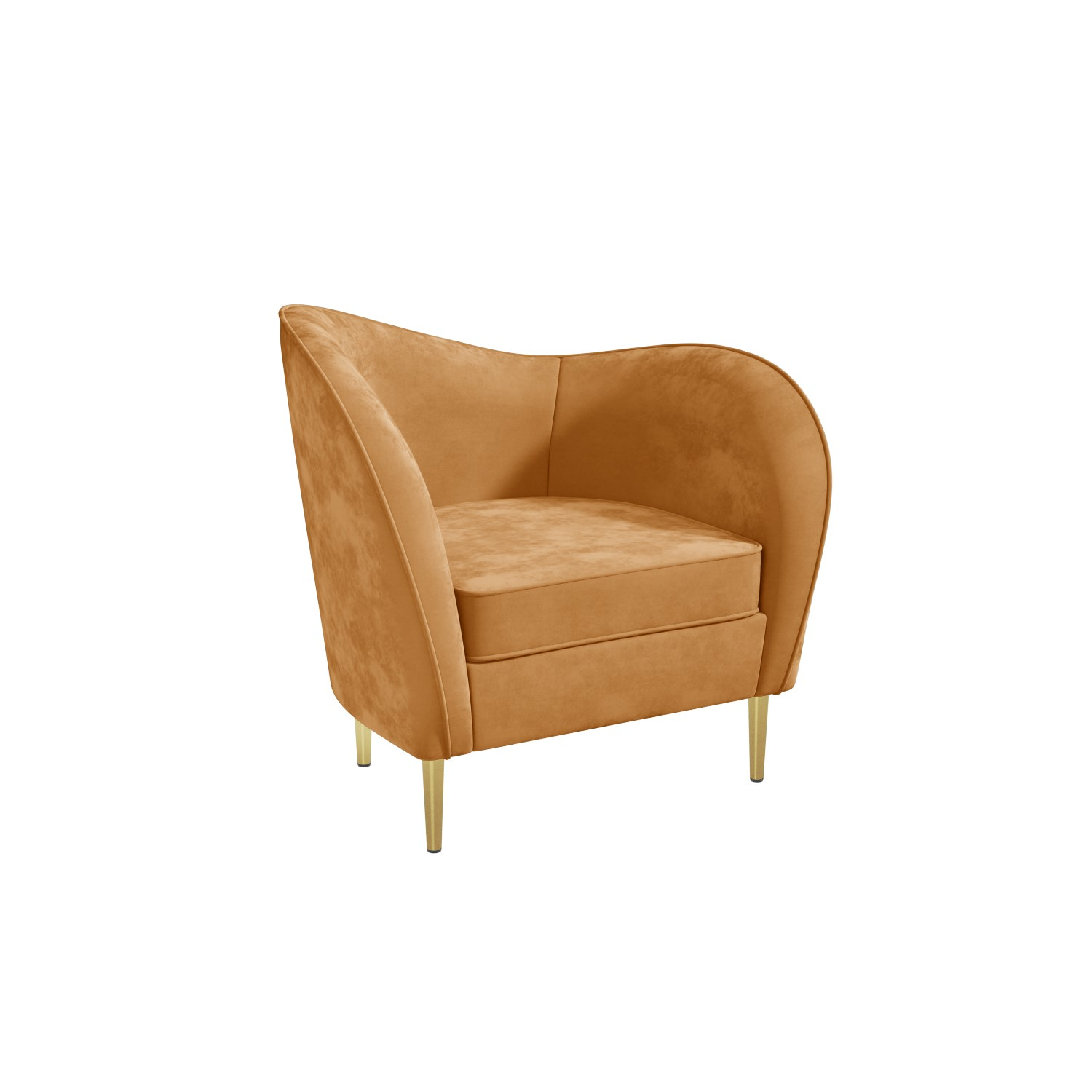 Yellow Velvet Armchair With Scooped Back And Gold Legs Cara Furniture123