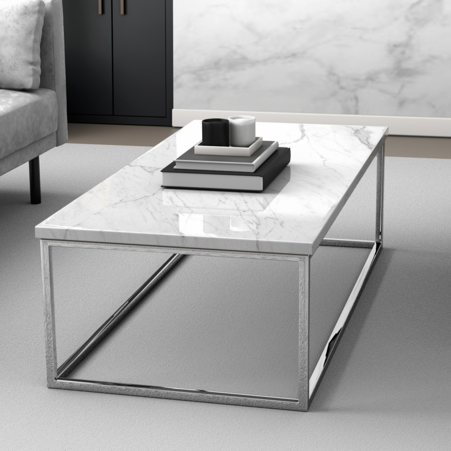 white marble effect rectangular coffee table with chrome legs demi