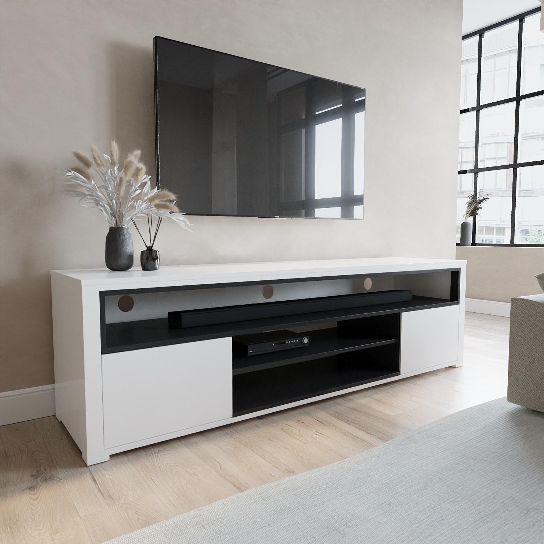 Neo White High Gloss TV Unit With Soundbar Shelf