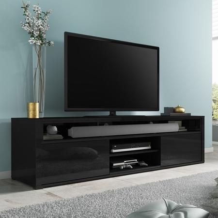 Evoque Black High Gloss TV Unit With Soundbar Shelf Furniture123