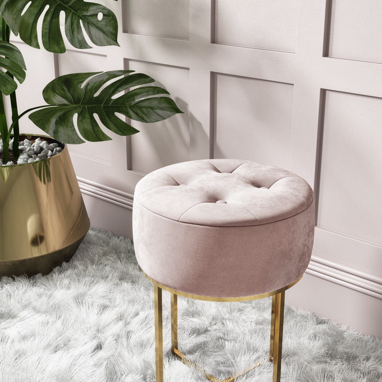 pink velvet dressing table stool with gold legs fiorella