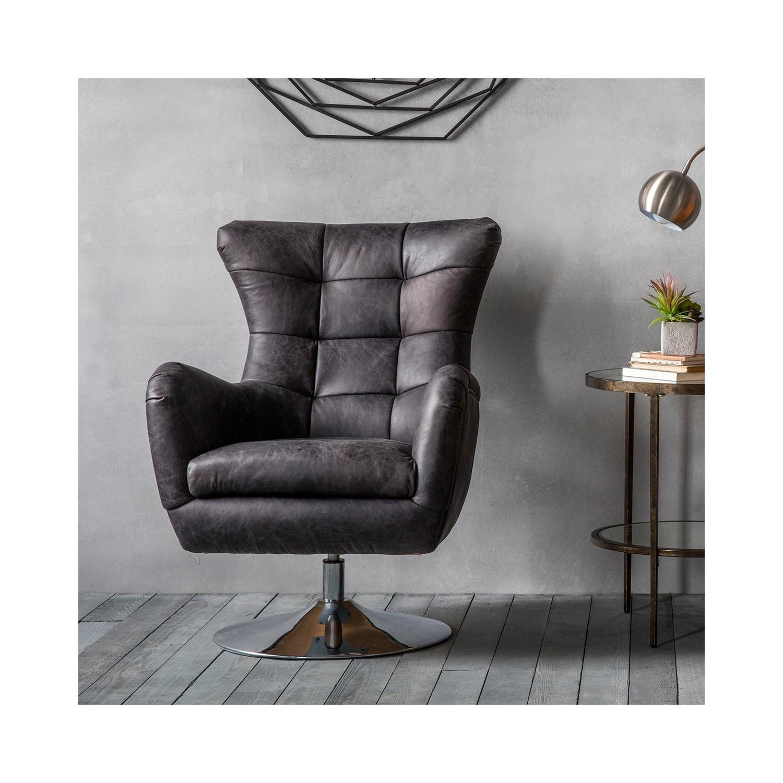 Bristol Swivel Chair Antique Black Leather
