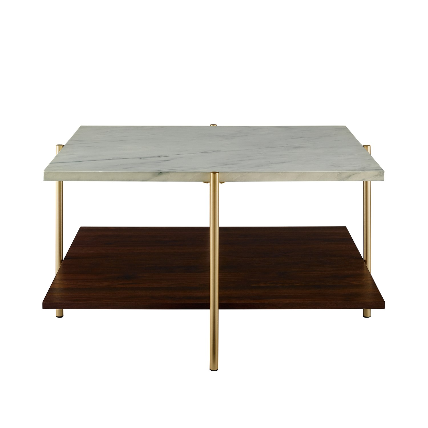 white marble square coffee table with gold legs foster