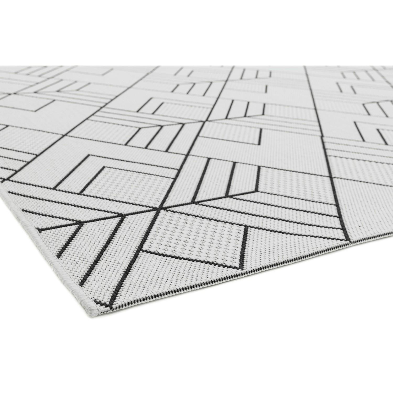 patio indoor outdoor black white geometric rug 200x290cm