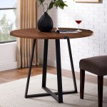Round Dark Wood Dining Table With Black Metal Legs Seats 4 Foster Furniture123