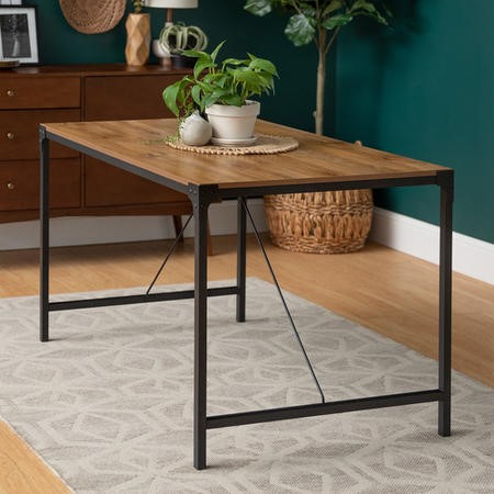 industrial dining table with wooden top black metal legs foster