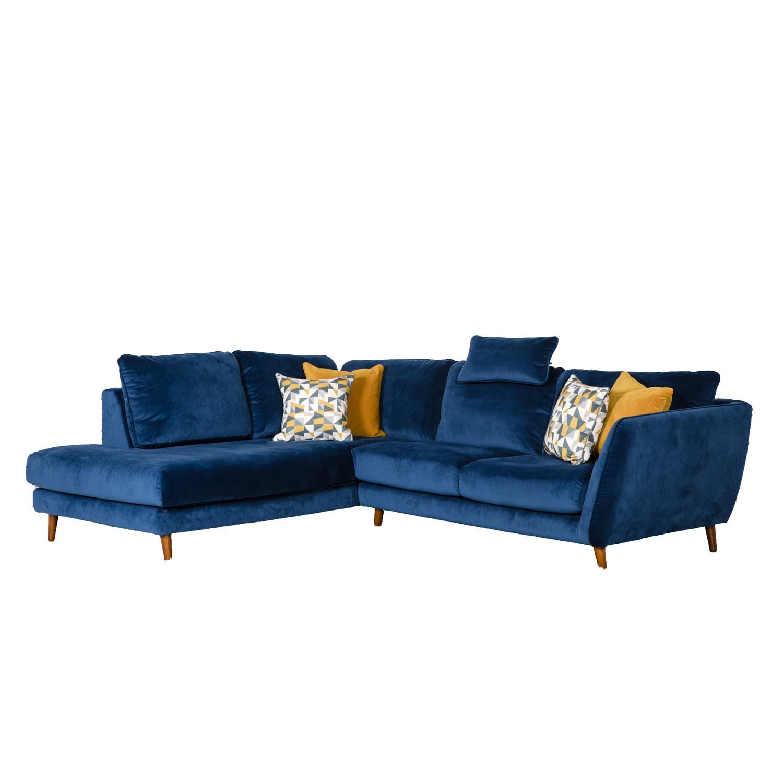 Blue Velvet Corner Sofa Left Hand Chaise Helsinki Furniture123