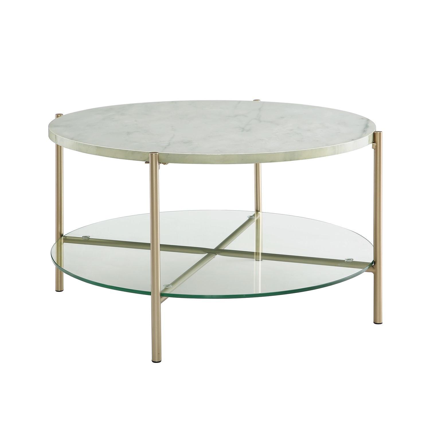 white faux marble round coffee table with gold legs glass shelf