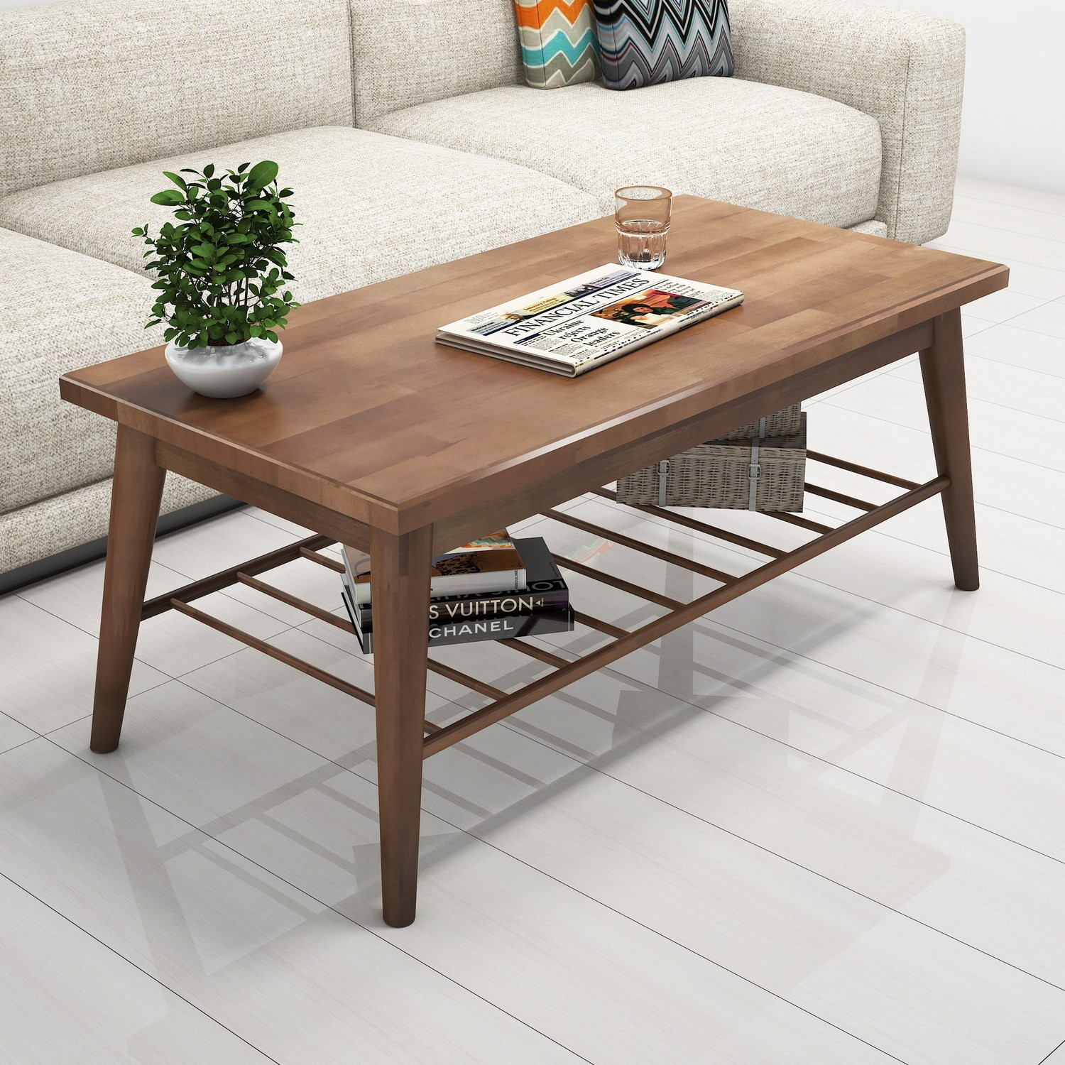 wooden coffee table with spindle shelf