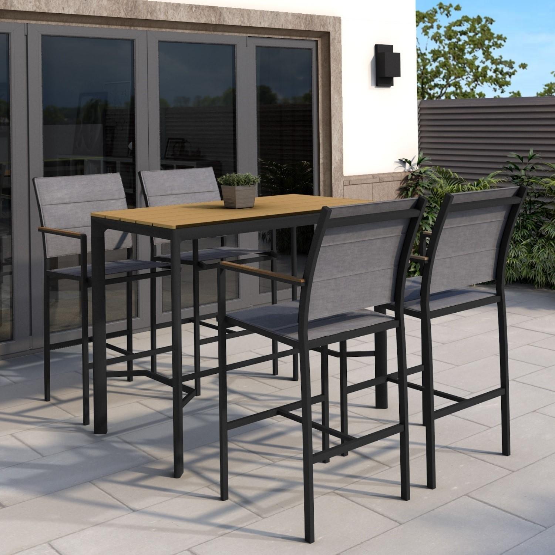 Black Outdoor Bar Set With 4 Bar Stools Como Furniture123