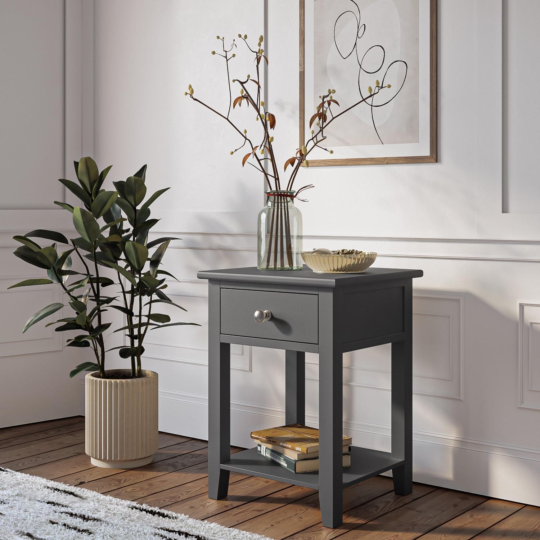 Harper Grey Solid Wood 1 Drawer Bedside Table Furniture123