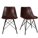 Set Of 2 Dark Red Leather Dining Chairs Retro Industrial Jaxon Furniture123