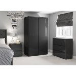 Lexi High Gloss Anthracite Grey 2 Drawer Bedside Table Furniture123