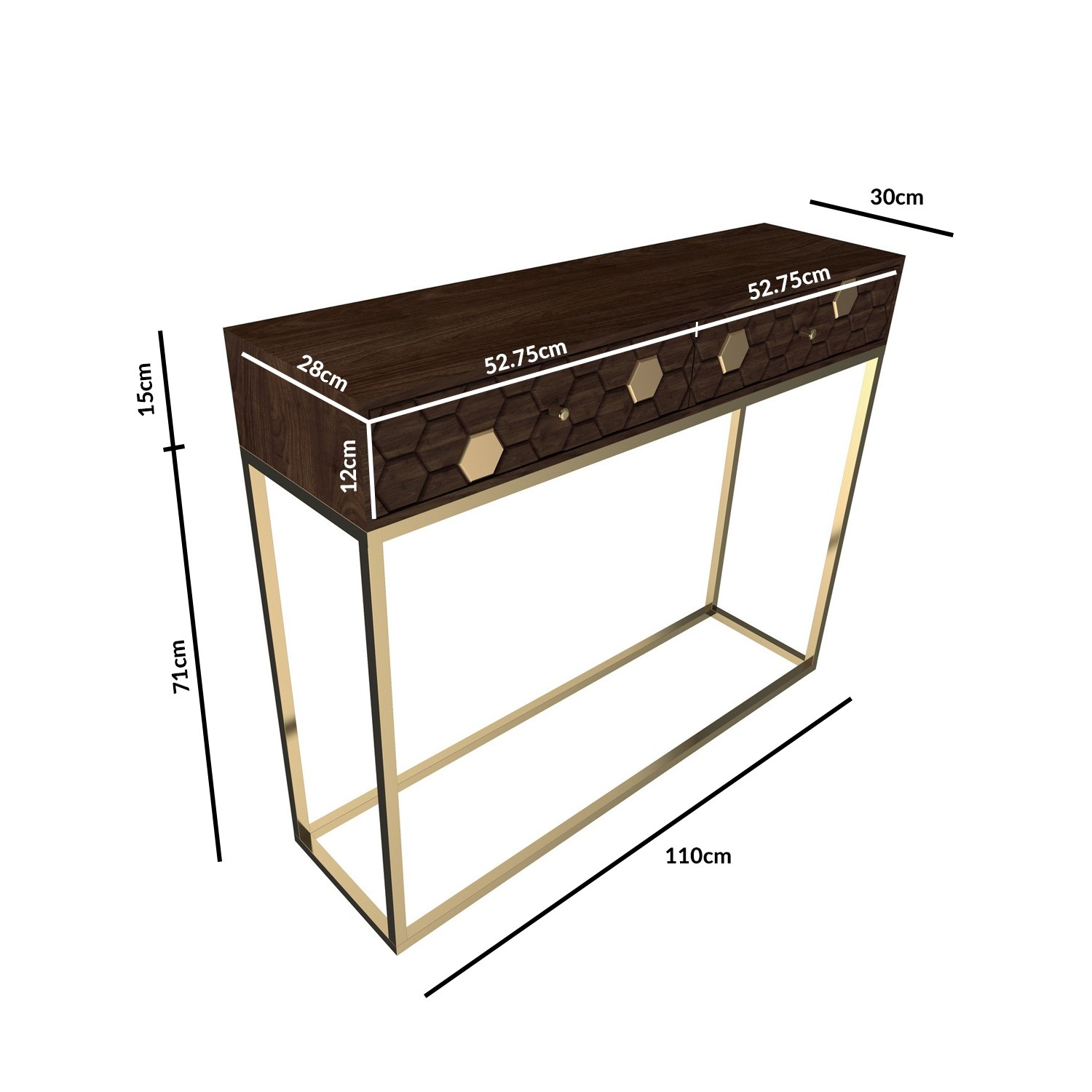 narrow console table in dark wood gold with drawers mari
