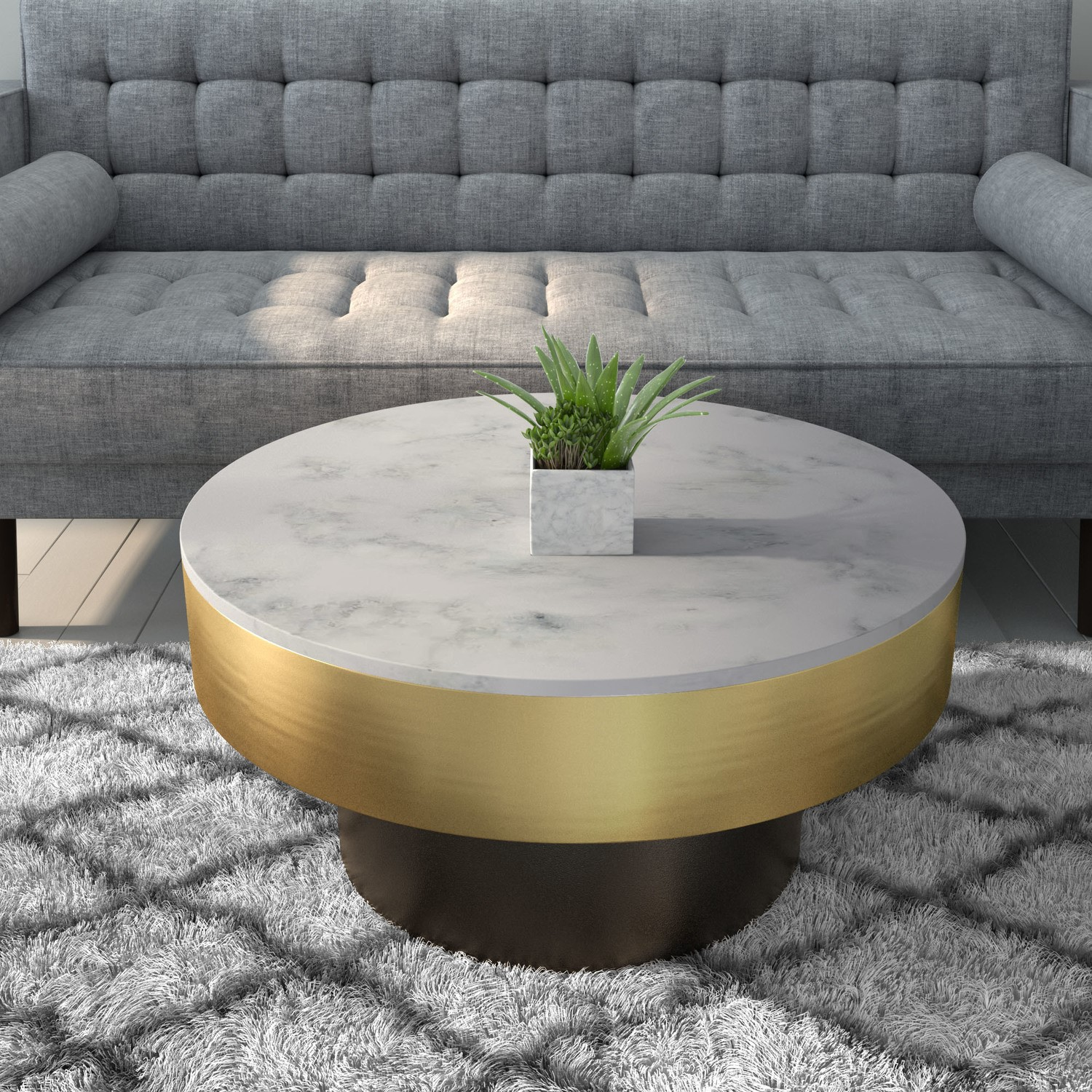 marble coffee table in white with gold black base martina