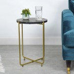 Black Marble Side Table With Gold Legs Round Furniture123