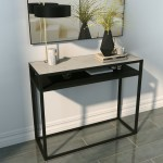 Marble Top Console Table With Black Iron Base Narrow Furniture123