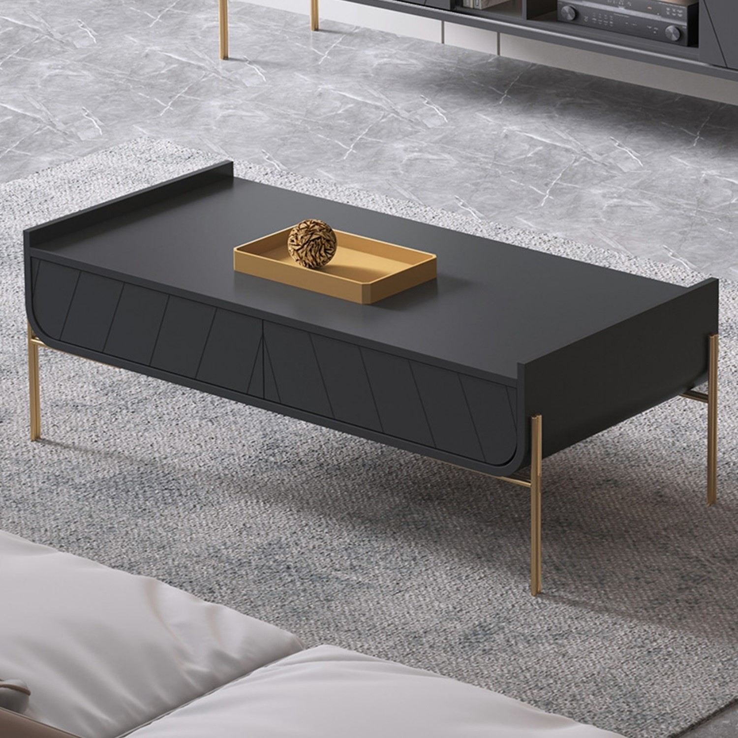 dark grey and gold curved coffee table olis