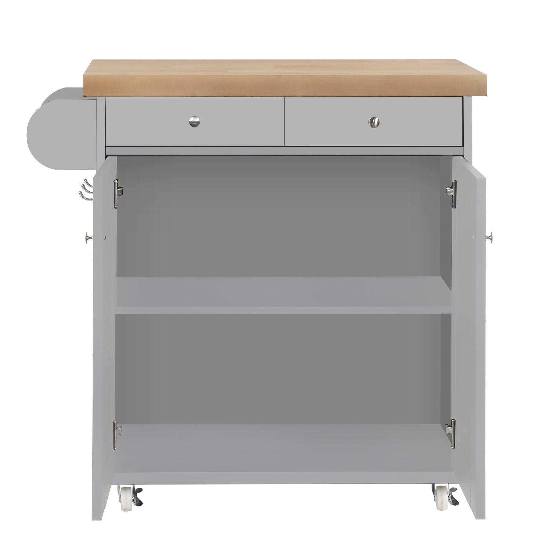 Portland Portable Kitchen Island Trolly Cart With Oak Top In Grey Furniture123