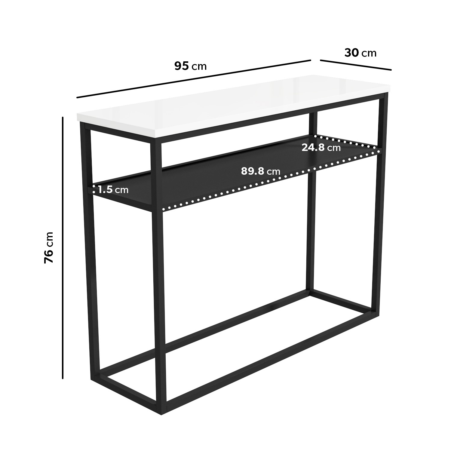 narrow white gloss console table with black metal base rochelle