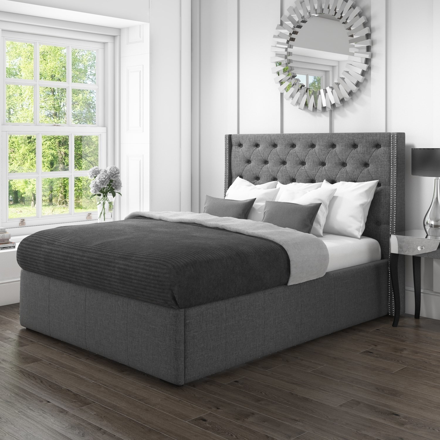 safina kingsize wing back ottoman bed with stud detailing in woven charcoal grey