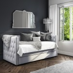 Sacha Velvet Day Bed In Silver Grey Trundle Bed Included Furniture123