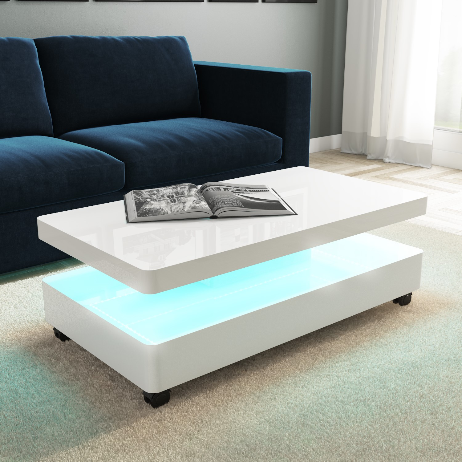 white gloss coffee table with led lights tiffany