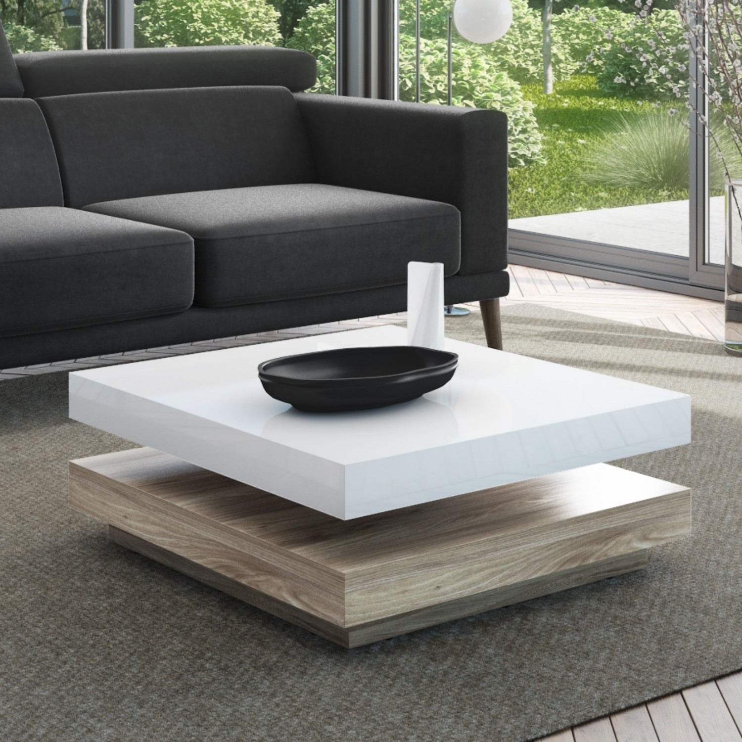 square coffee table in white high gloss light wood effect tiffany