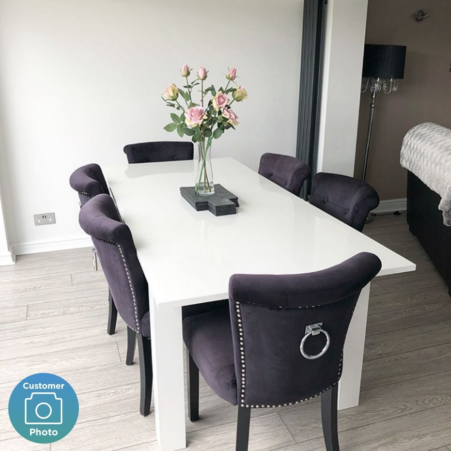 White Extendable Dining Table With High Gloss Finish 6 Seater Vivienne Furniture123