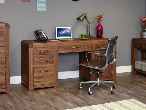 Baumhaus Shiro Walnut Twin Pedestal Computer Desk Furniture 4 Life