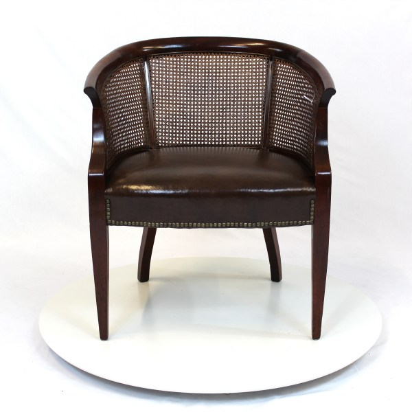 Hollywood Regency Rattan Back Barrel Chair with Leather Seat