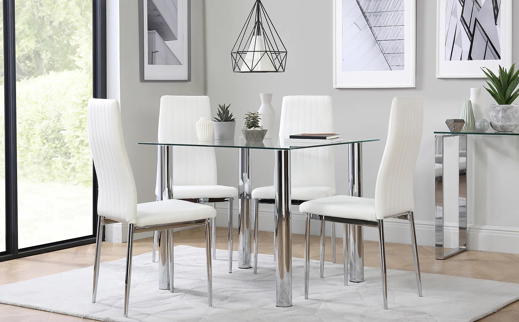 Nova Square Chrome And Glass Dining Table With 4 Leon