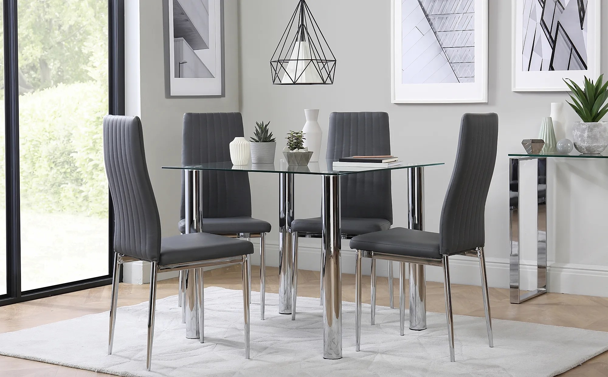 Nova Square Chrome And Glass Dining Table With 4 Leon Grey