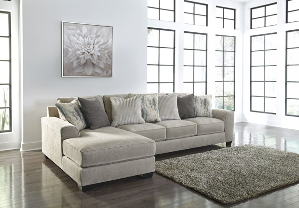 ardsley pewter 2 piece left arm facing sectional